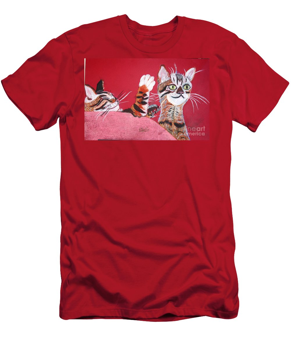 2 Bengal Cats. Red Background Men's T-Shirt (Athletic Fit) featuring the pastel 2 Tora's by Phyllis Kaltenbach