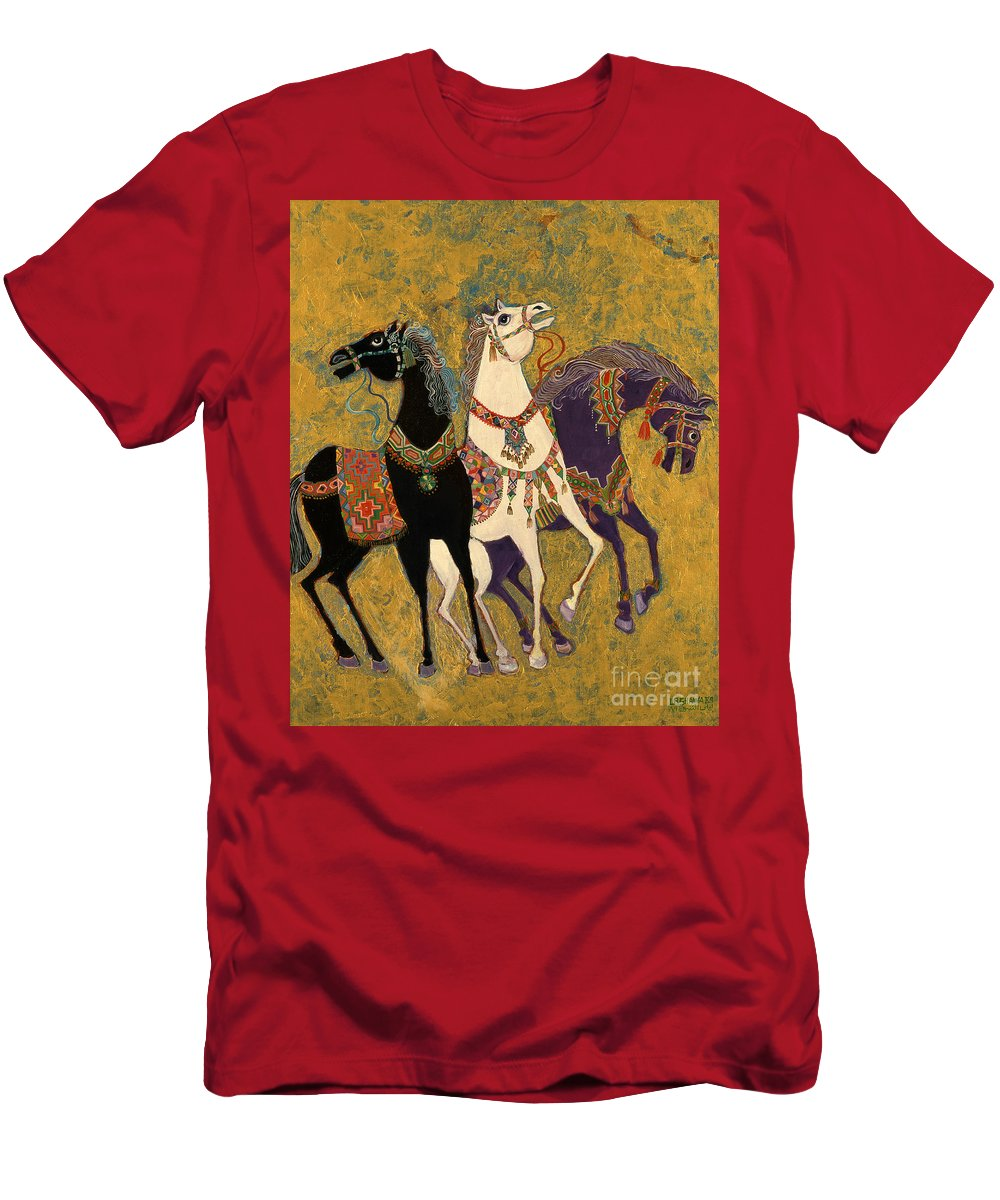 Three Men's T-Shirt (Athletic Fit) featuring the painting 3 Horses by Laila Shawa