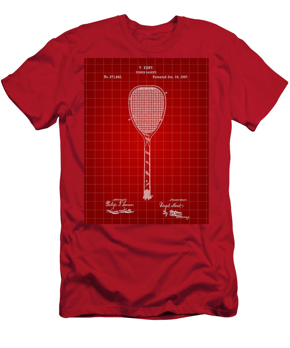 Tennis Men's T-Shirt (Athletic Fit) featuring the digital art Tennis Racket Patent 1887 - Red by Stephen Younts
