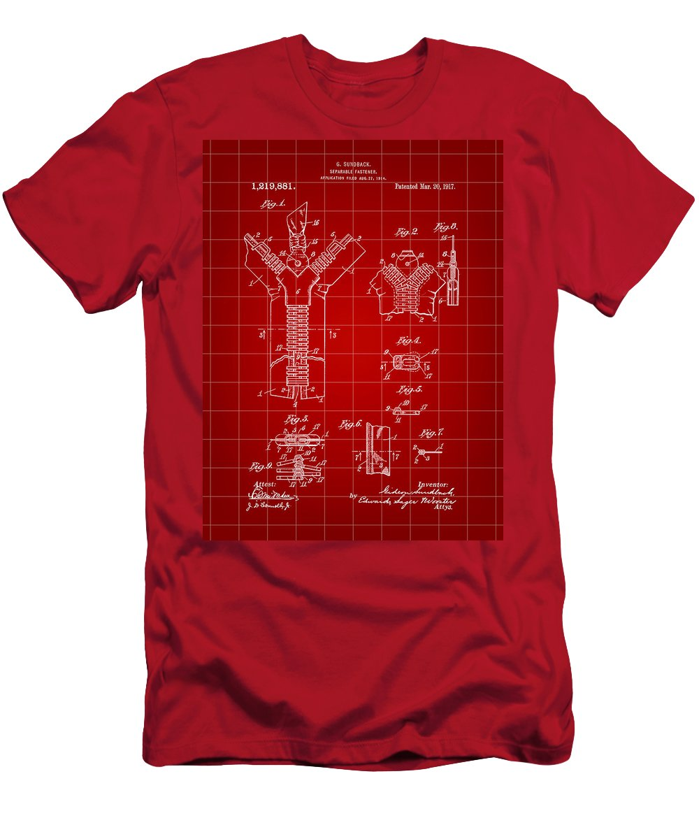 Zipper Men's T-Shirt (Athletic Fit) featuring the digital art Zipper Patent 1914 - Red by Stephen Younts