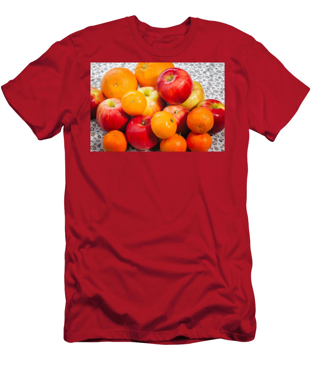 Agriculture Men's T-Shirt (Athletic Fit) featuring the photograph Apple Tangerine And Oranges by Alain De Maximy