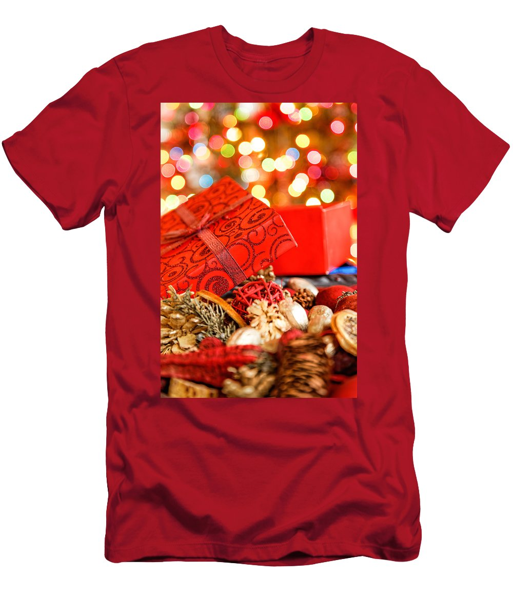 Background Men's T-Shirt (Athletic Fit) featuring the photograph Christmas Box by Peter Lakomy