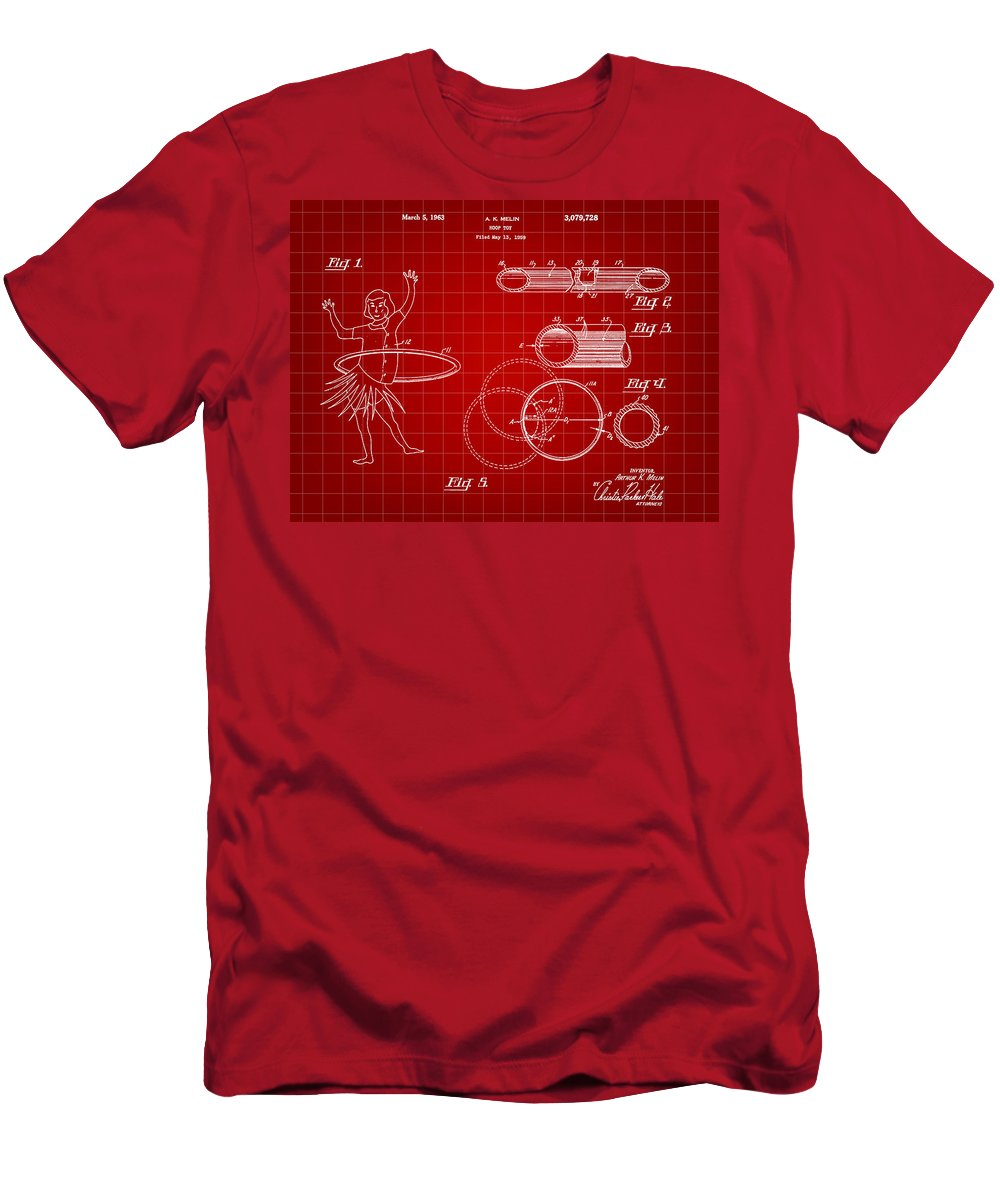 Hula Hoop Patent Men's T-Shirt (Athletic Fit) featuring the digital art Hula Hoop Patent 1959 - Red by Stephen Younts