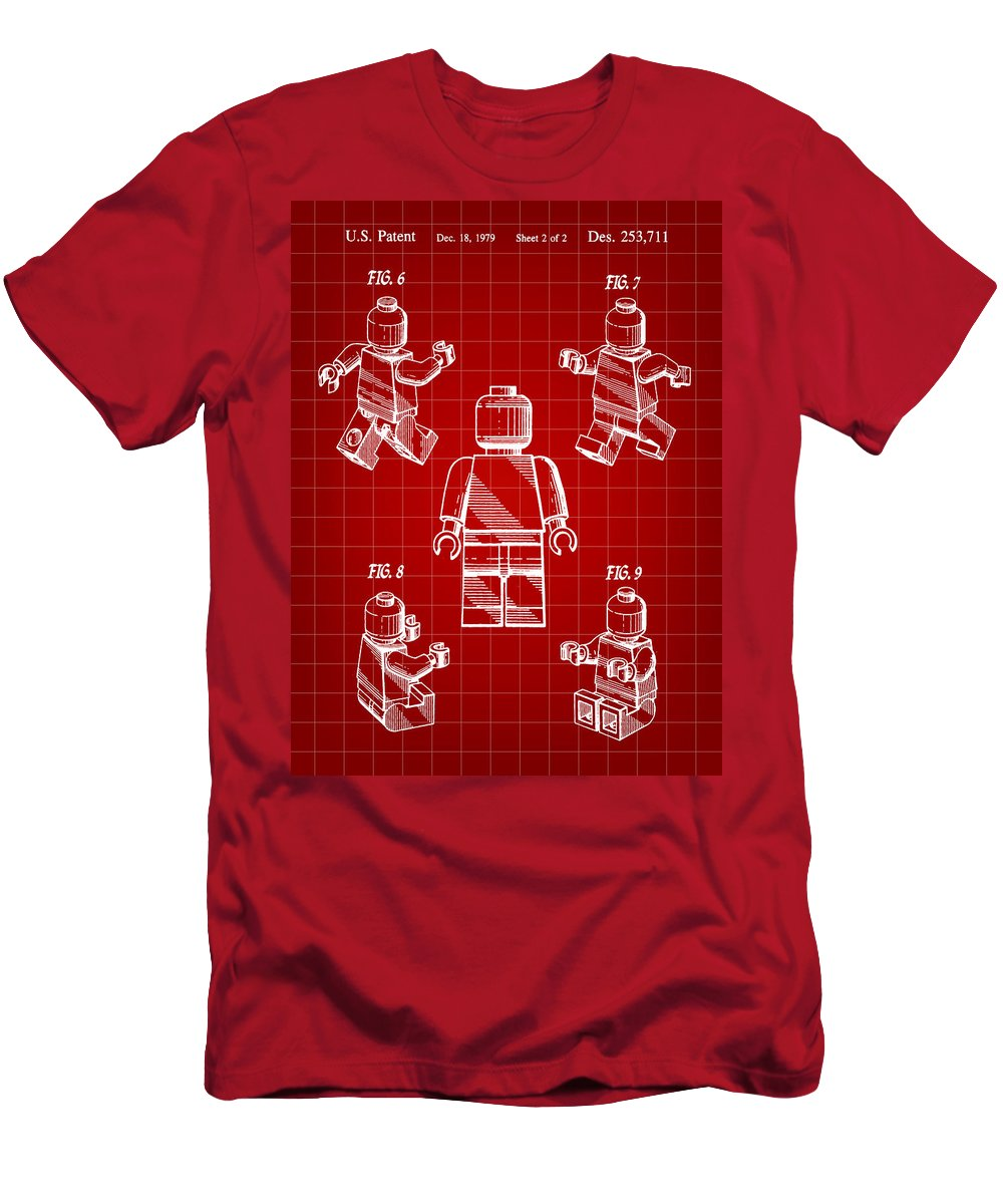 Lego Men's T-Shirt (Athletic Fit) featuring the digital art Lego Figure Patent 1979 - Red by Stephen Younts