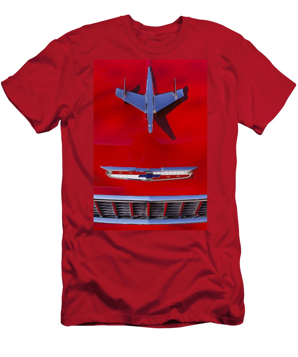 Car Men's T-Shirt (Athletic Fit) featuring the photograph 1955 Chevrolet Belair Nomad Hood Ornament by Jill Reger