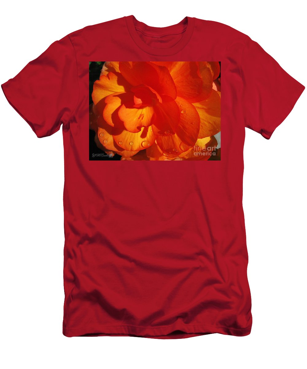 Begonia Men's T-Shirt (Athletic Fit) featuring the painting Begonia Named Nonstop Apricot by J McCombie