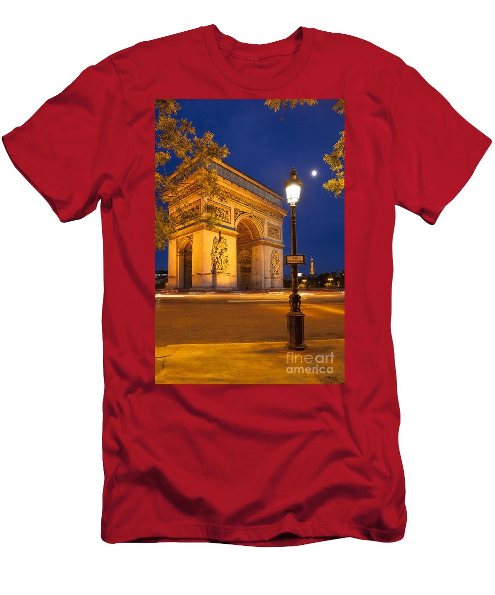 Arc Men's T-Shirt (Athletic Fit) featuring the photograph Twilight At Arc De Triomphe by Brian Jannsen