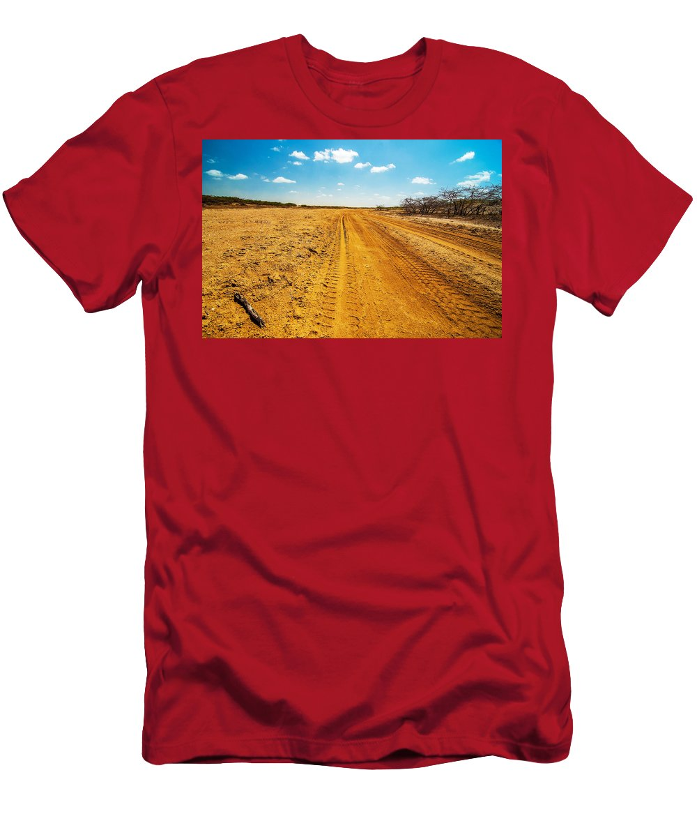 Desert Men's T-Shirt (Athletic Fit) featuring the photograph A Dirt Road In The Desert by Jess Kraft