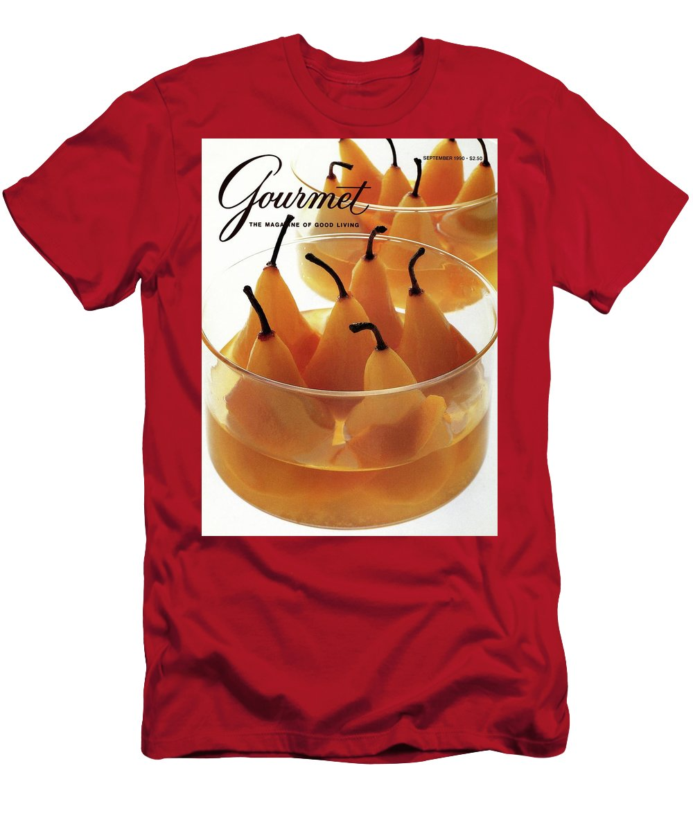 Food Men's T-Shirt (Athletic Fit) featuring the photograph A Gourmet Cover Of Baked Pears by Romulo Yanes