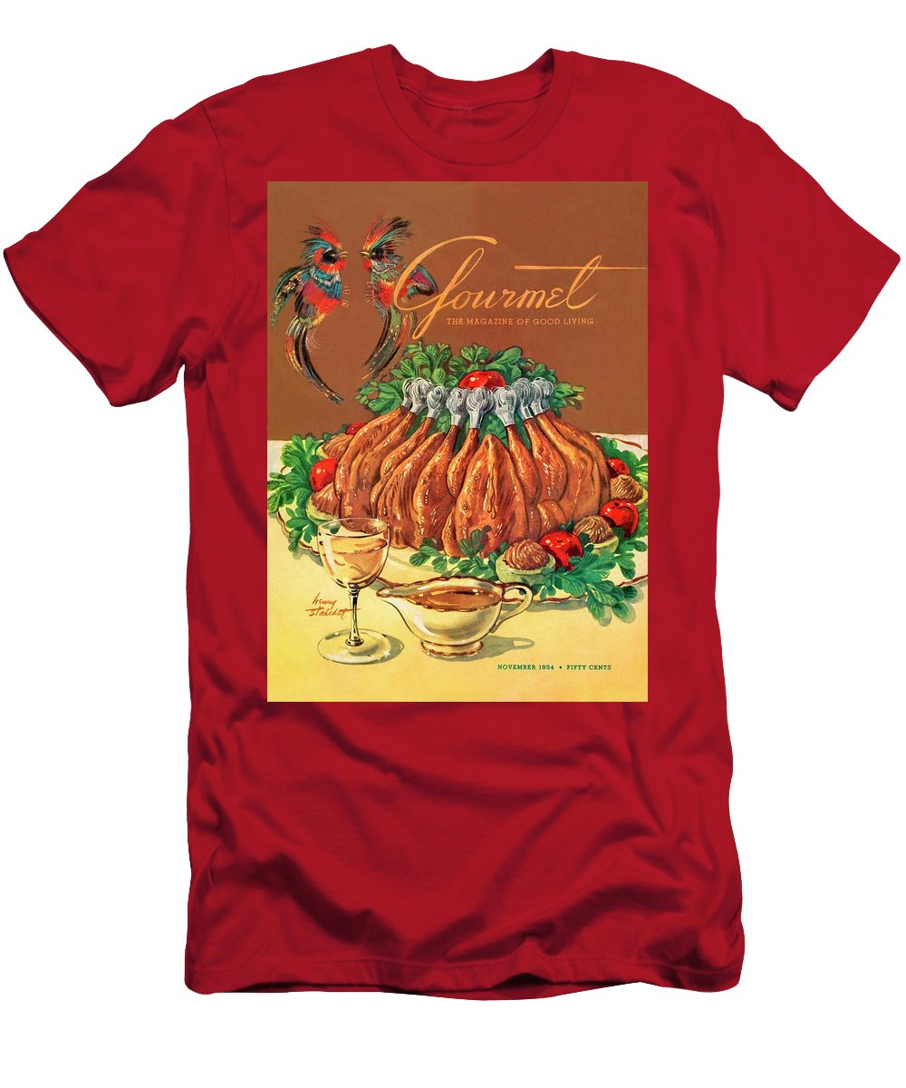 Food Men's T-Shirt (Athletic Fit) featuring the photograph A Gourmet Cover Of Chicken by Henry Stahlhut