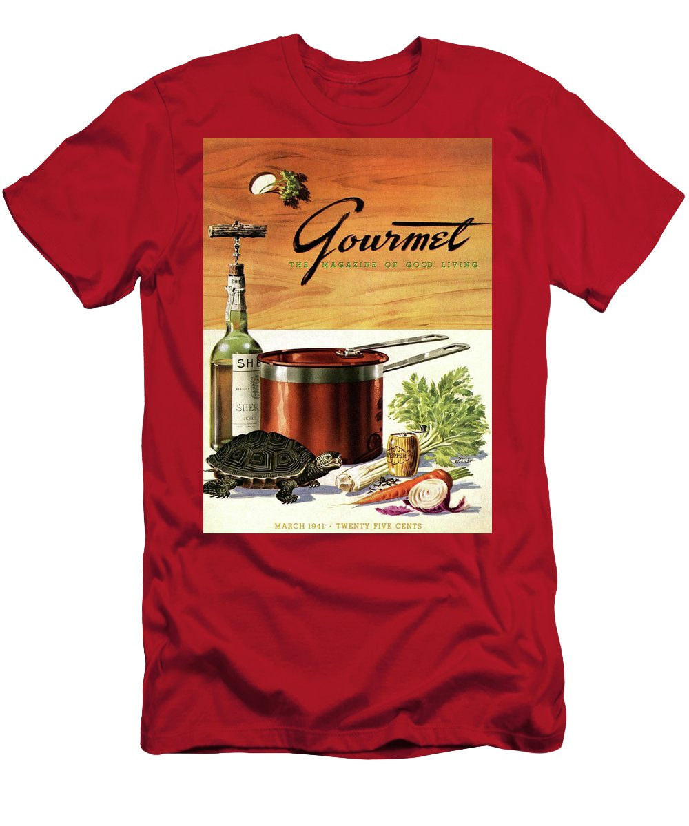 Illustration Men's T-Shirt (Athletic Fit) featuring the photograph A Gourmet Cover Of Turtle Soup Ingredients by Henry Stahlhut