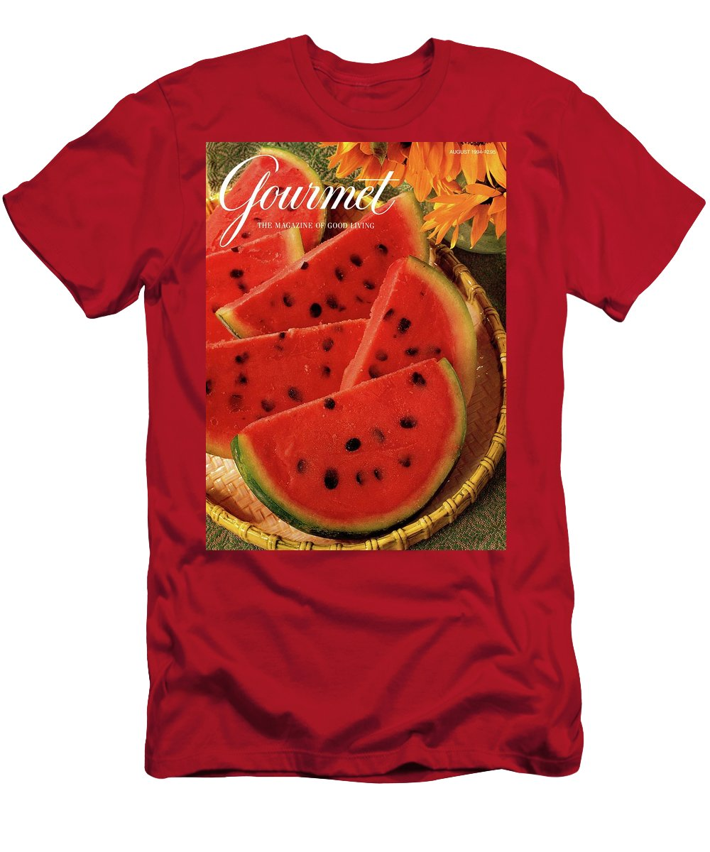 Food Men's T-Shirt (Athletic Fit) featuring the photograph A Gourmet Cover Of Watermelon Sorbet by Romulo Yanes