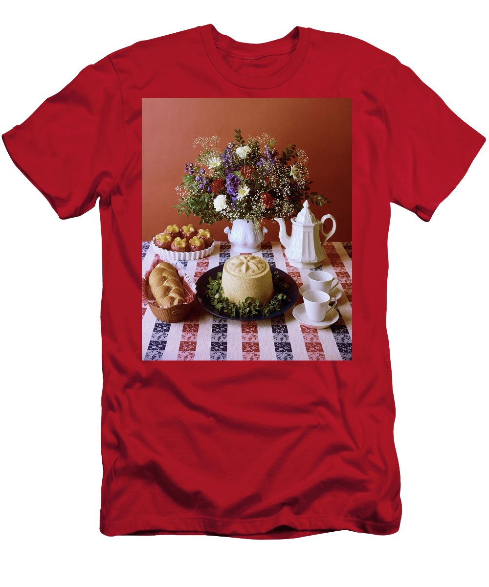 Nobody Men's T-Shirt (Athletic Fit) featuring the photograph A Table Of Pastries by Mary Faulconer