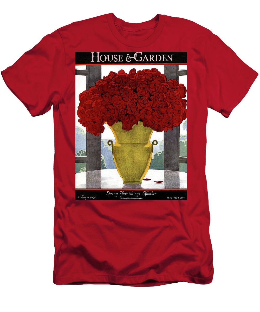 House And Garden T-Shirt featuring the photograph A Vase With Red Roses by Andre E Marty