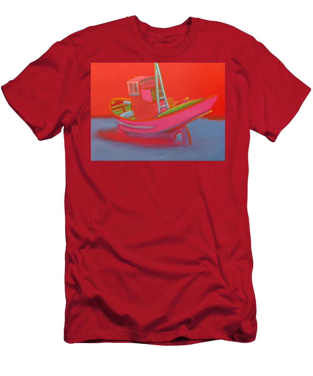 Fishing Men's T-Shirt (Athletic Fit) featuring the painting Abandoned Red Fishing Trawler by Charles Stuart
