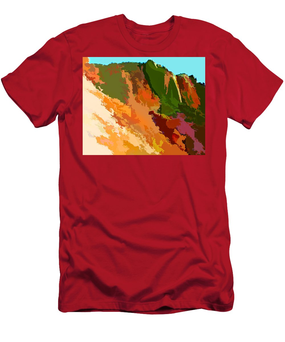 Mountains Abstract Arizona Peak Desert Southwest Impressionism Impressionistic Nature Trees Landscape Men's T-Shirt (Athletic Fit) featuring the painting Abstract Arizona Mountains In The Afternoon by Elaine Plesser