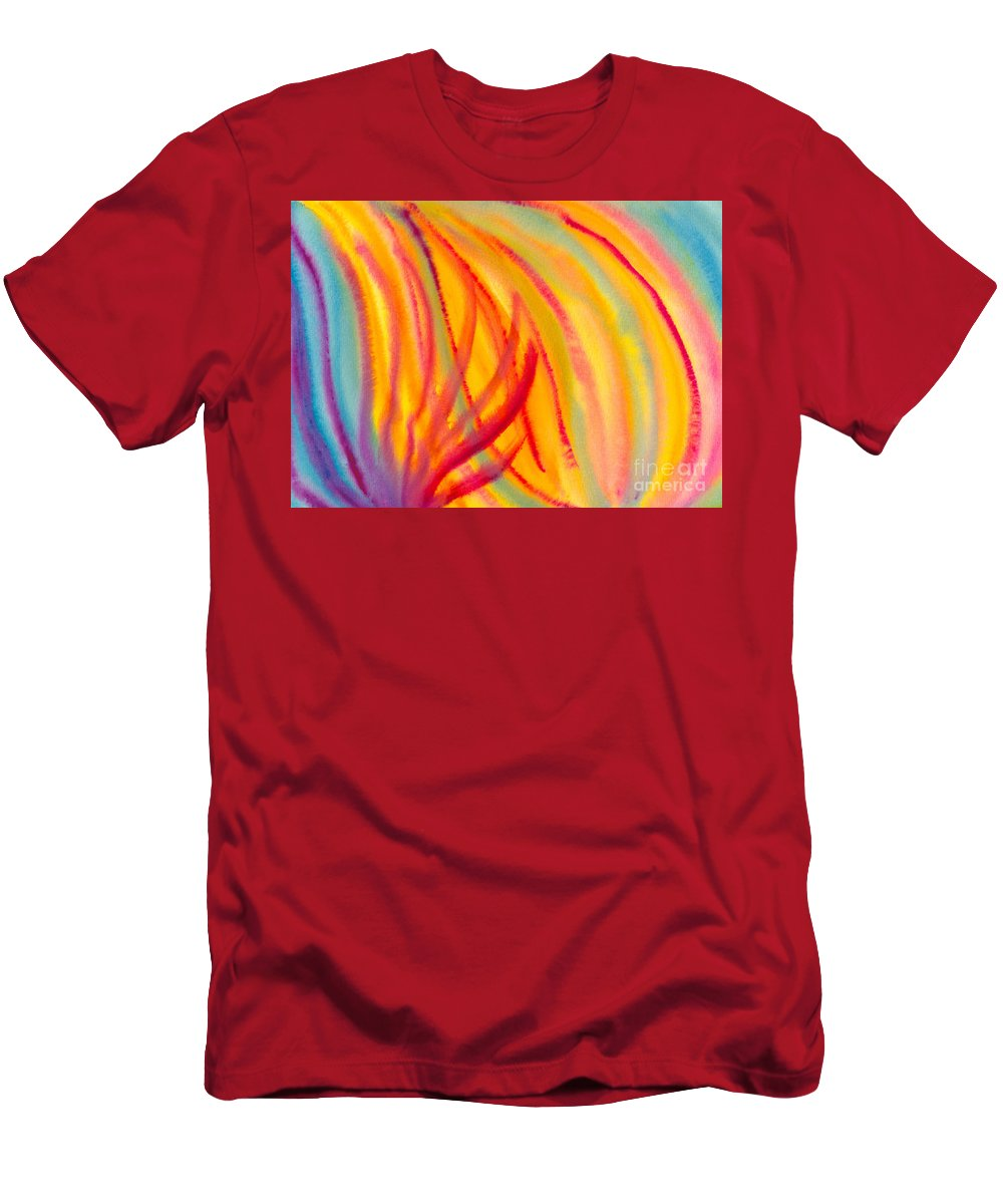 Abstract Men's T-Shirt (Athletic Fit) featuring the painting Abstract Colorful Lines by Kerstin Ivarsson