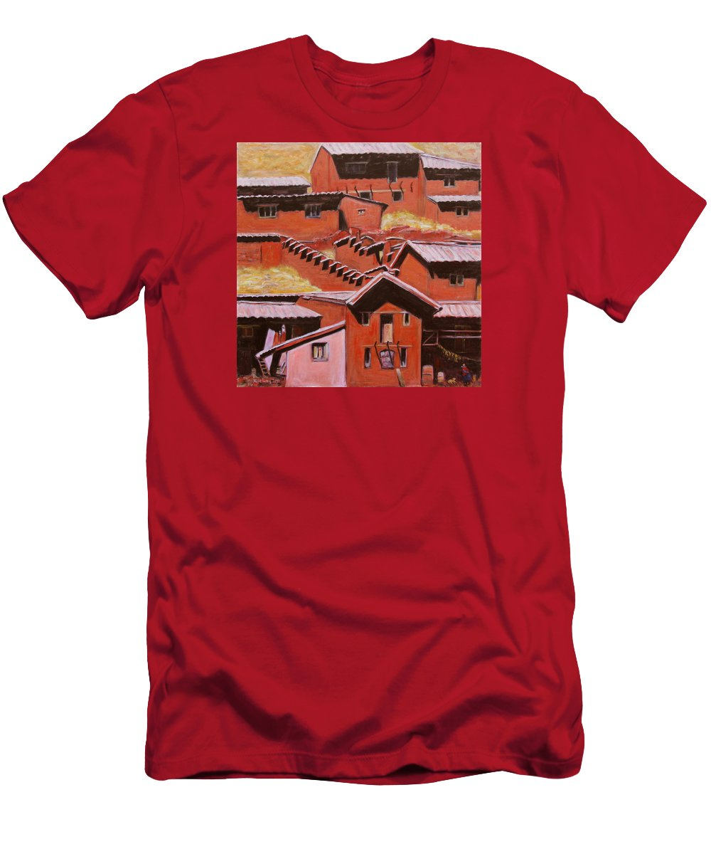 Landscape Men's T-Shirt (Athletic Fit) featuring the painting Adobe Village - Peru Impression II by Xueling Zou