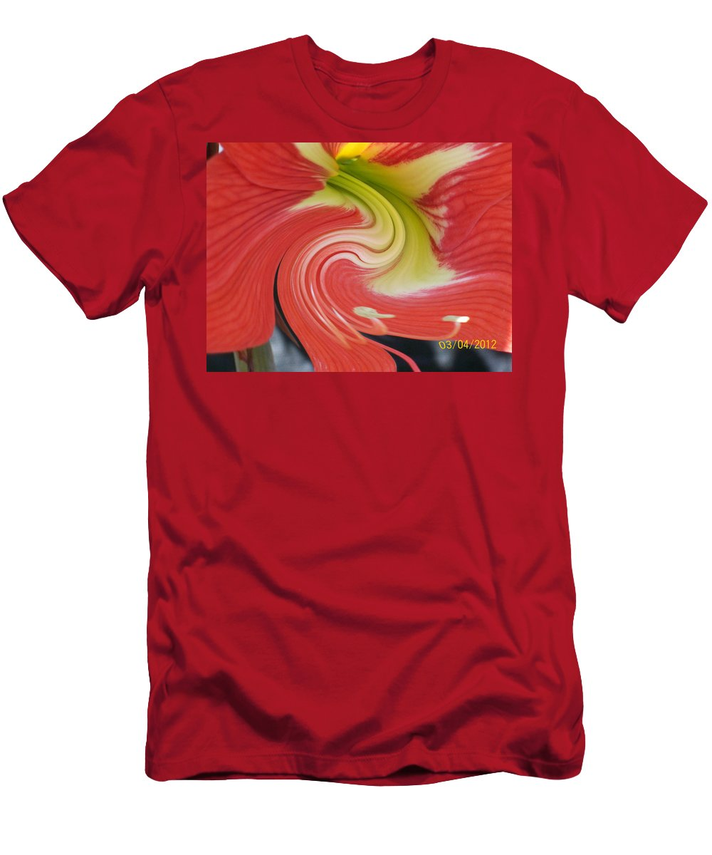Blooming Red And Yellow Amarylis With A Twirl Effect Men's T-Shirt (Athletic Fit) featuring the photograph Amarylis Twirl by Belinda Lee
