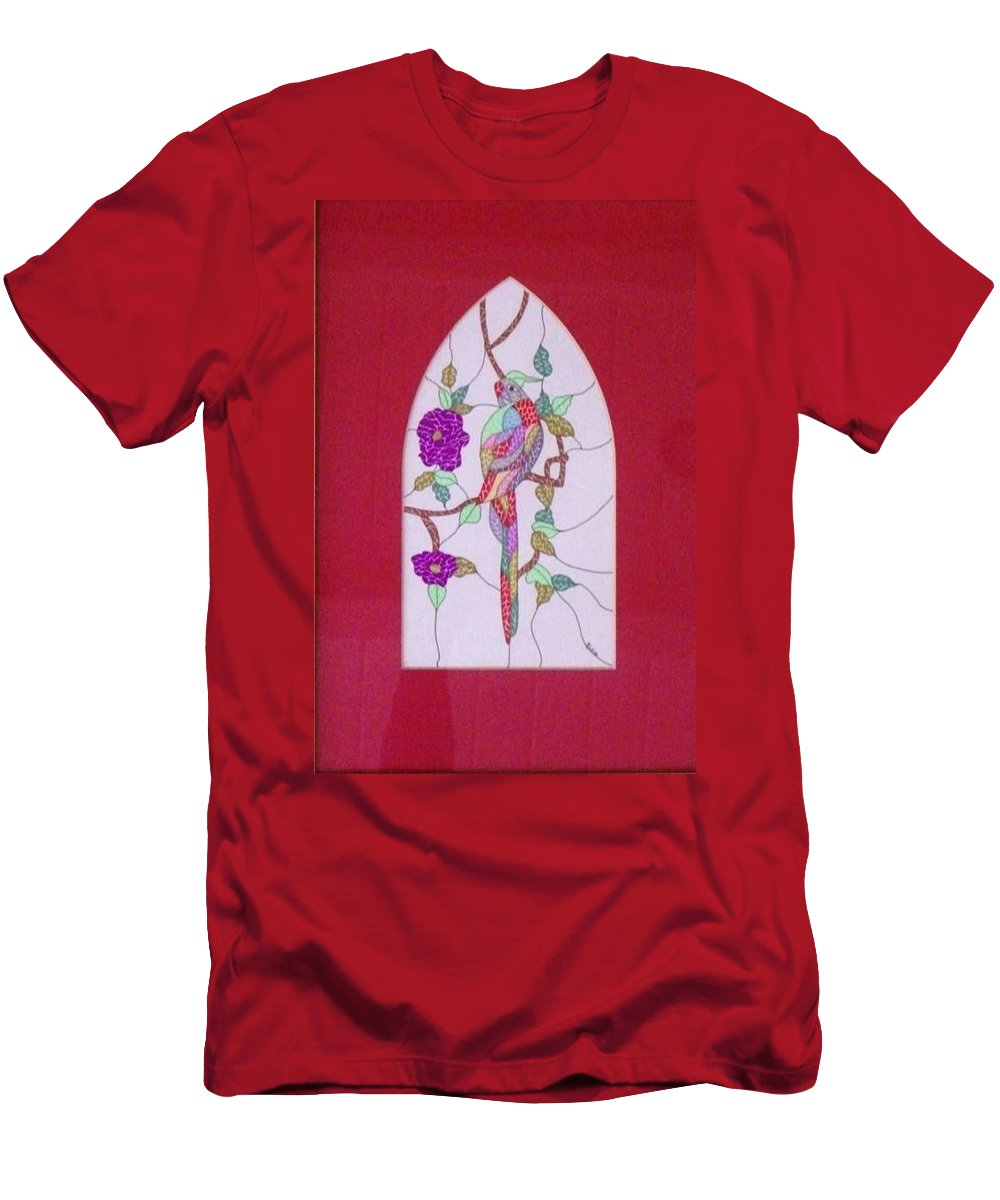 Parrot Men's T-Shirt (Athletic Fit) featuring the painting Amazon I by Kruti Shah