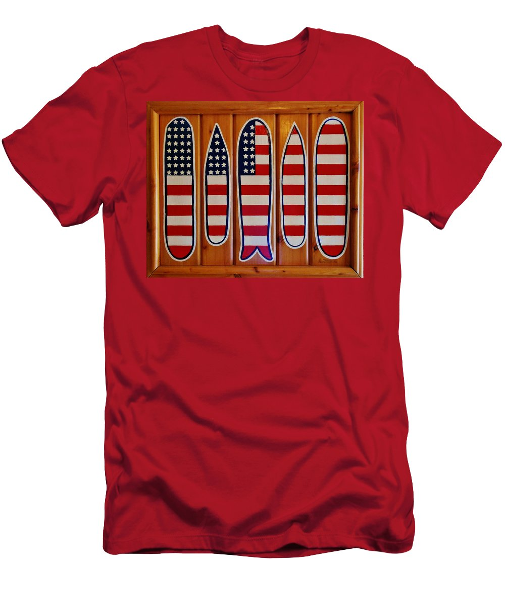 Hand Painted American Flag By Mark Lemmon On Salvaged Juniper Wood On The Outer Banks North Carolina Obx Men's T-Shirt (Athletic Fit) featuring the photograph American Flag Surfboards Original Painting By Mark Lemmon by Mark Lemmon