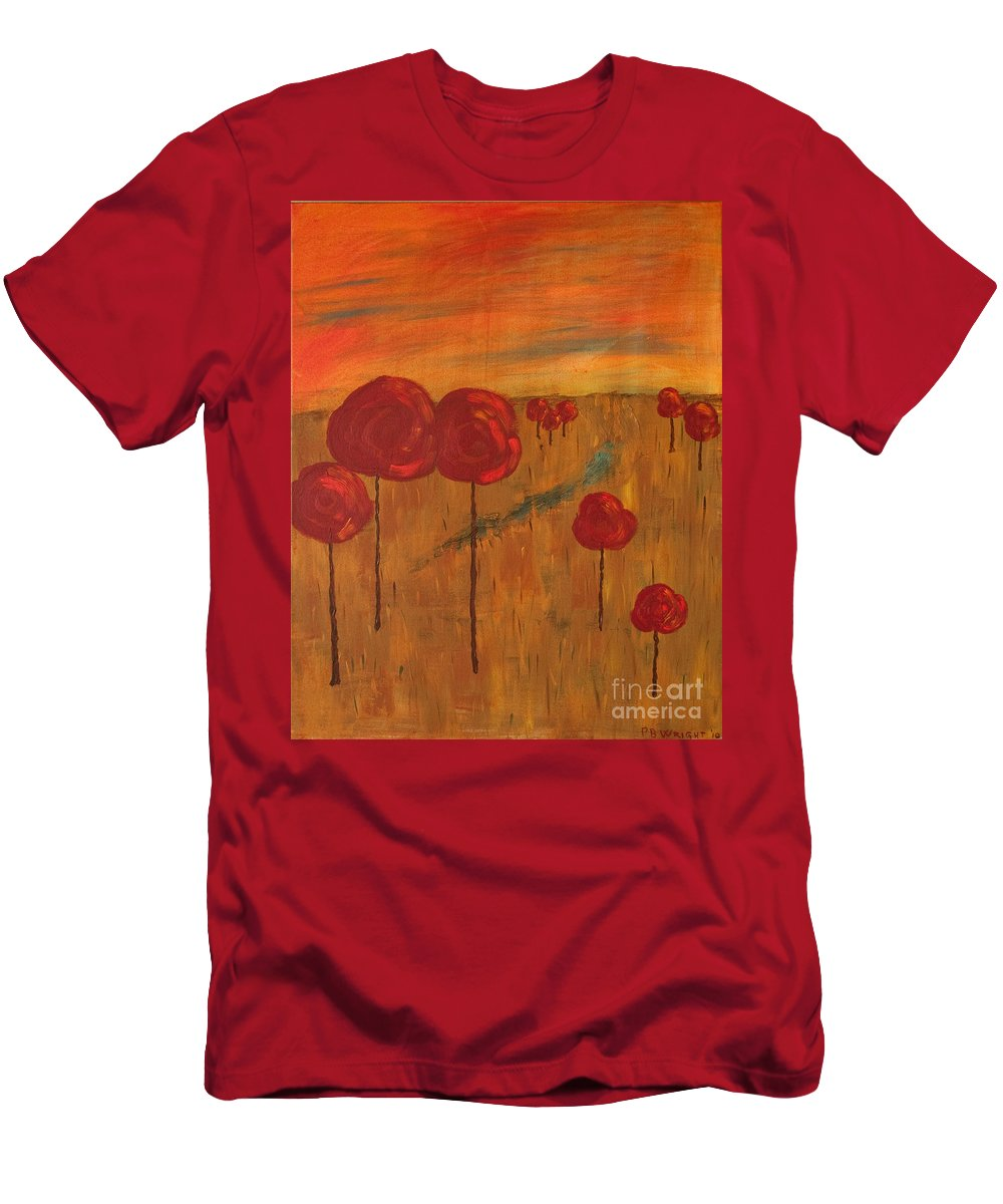 Wright Men's T-Shirt (Athletic Fit) featuring the painting Appletrees by Paulette B Wright