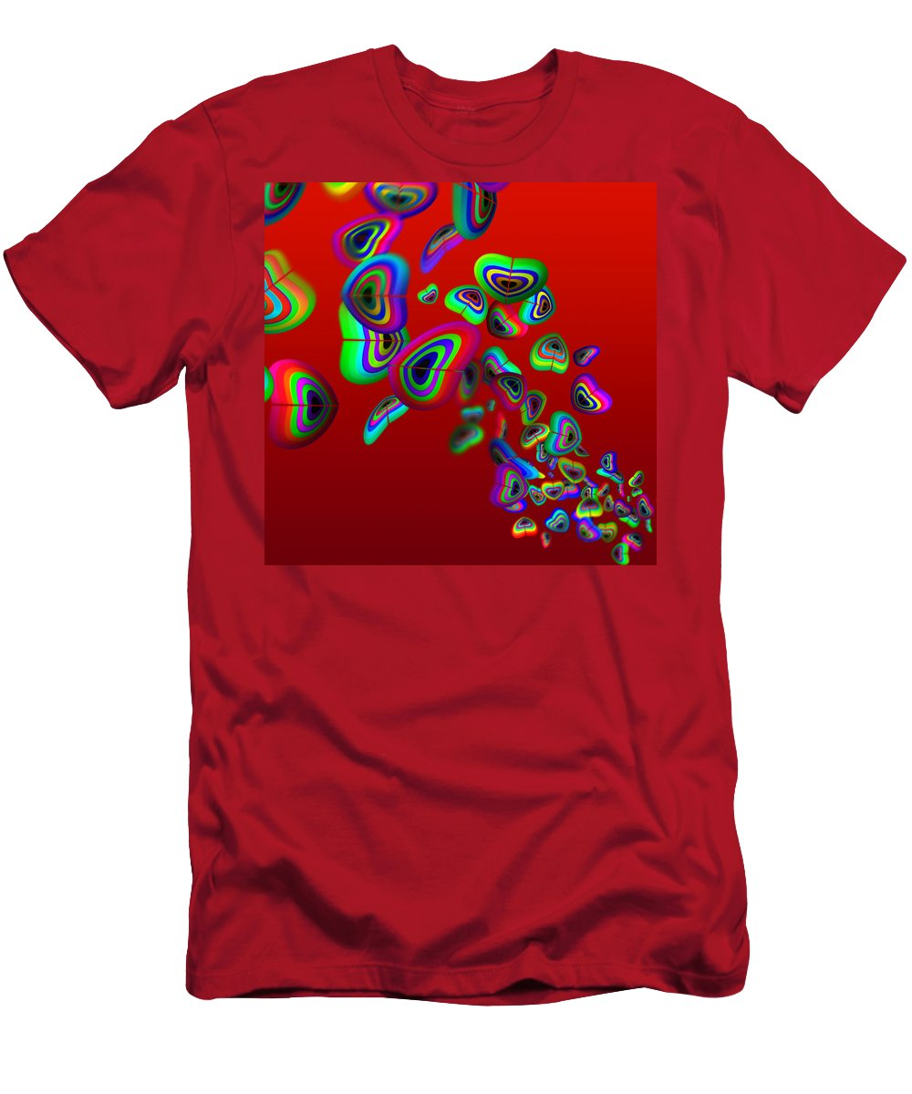 Tropical Fish Art Men's T-Shirt (Athletic Fit) featuring the painting Aquarium Red by Charles Stuart