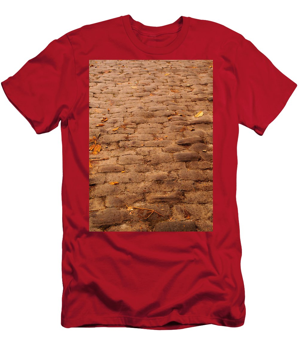 Road Men's T-Shirt (Athletic Fit) featuring the photograph Autumn Cobble Stone Road II by Tikvah's Hope