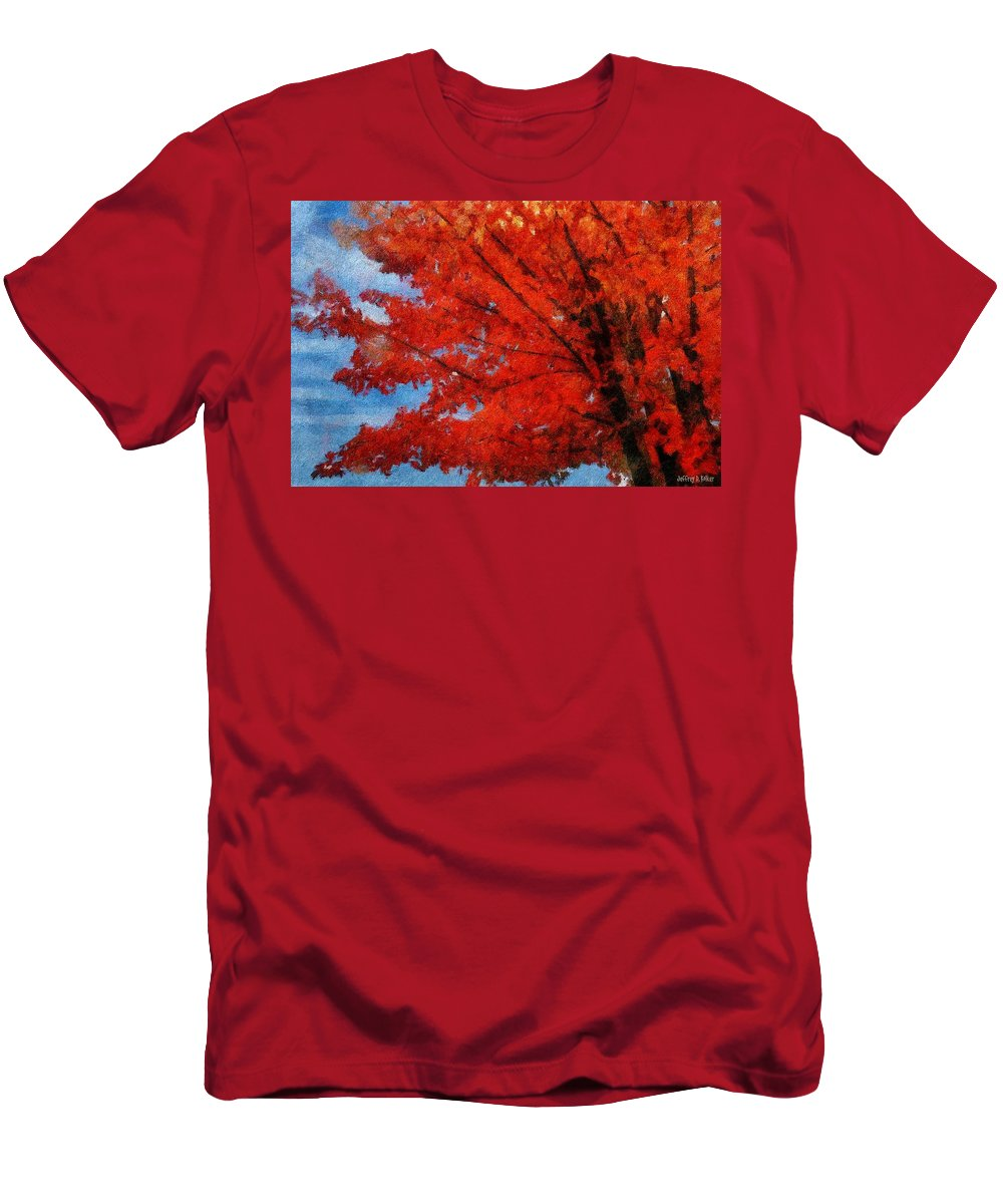 Autumn Men's T-Shirt (Athletic Fit) featuring the painting Autumn Fire by Jeffrey Kolker