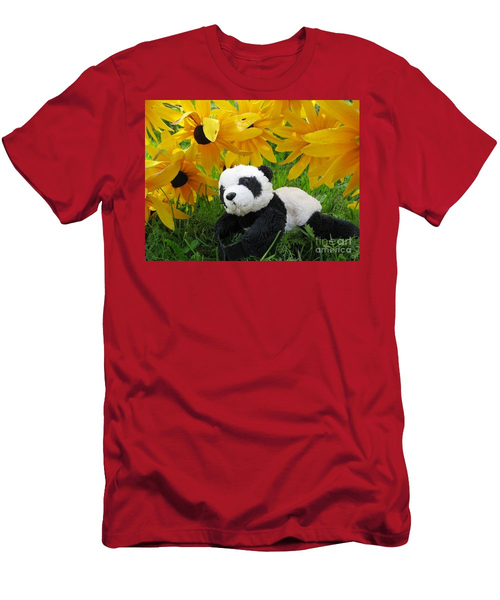 Baby Panda Men's T-Shirt (Athletic Fit) featuring the photograph Baby Panda Under The Golden Sky by Ausra Huntington nee Paulauskaite