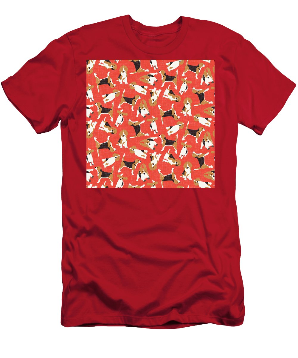 Beagle T-Shirt featuring the drawing Beagle Scatter Coral Red by MGL Meiklejohn Graphics Licensing