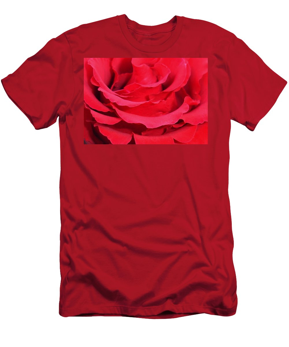 Rose Men's T-Shirt (Athletic Fit) featuring the photograph Beautiful Close Up Of Red Rose Petals by Taiche Acrylic Art