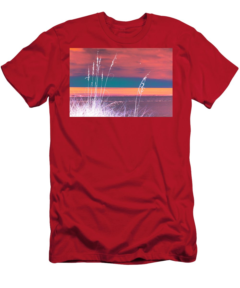 Digital Photograph Men's T-Shirt (Athletic Fit) featuring the digital art Behind The Sea Oats by Laurie Pike