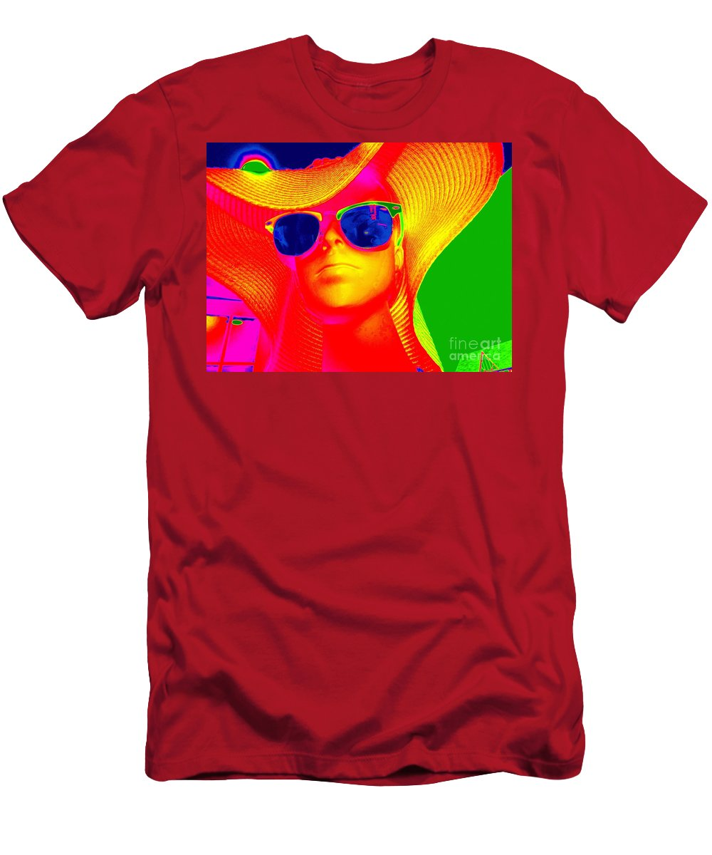 Pop Art Men's T-Shirt (Athletic Fit) featuring the digital art Betsy In Blue Sunglasses by Ed Weidman