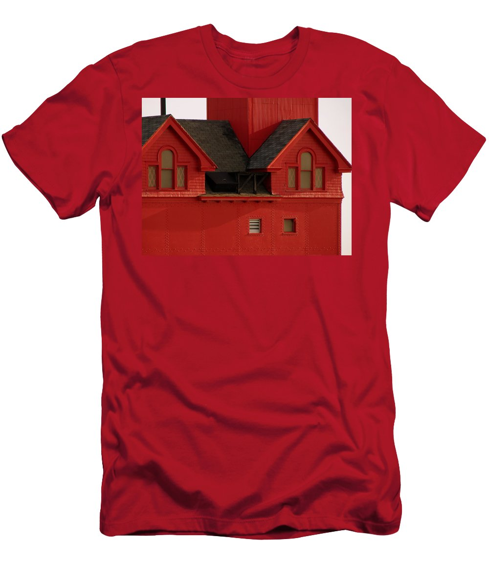 Windows Men's T-Shirt (Athletic Fit) featuring the photograph Big Red Holland Harbor Light Michigan by Michelle Calkins