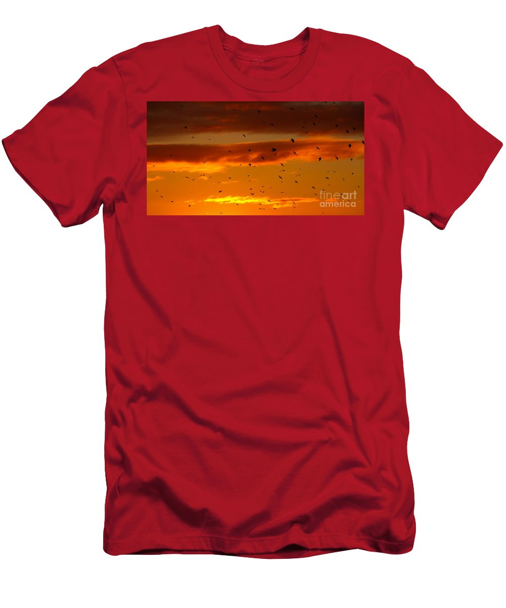 Birds Men's T-Shirt (Athletic Fit) featuring the photograph Birds Against Sunset Sky by Kerstin Ivarsson