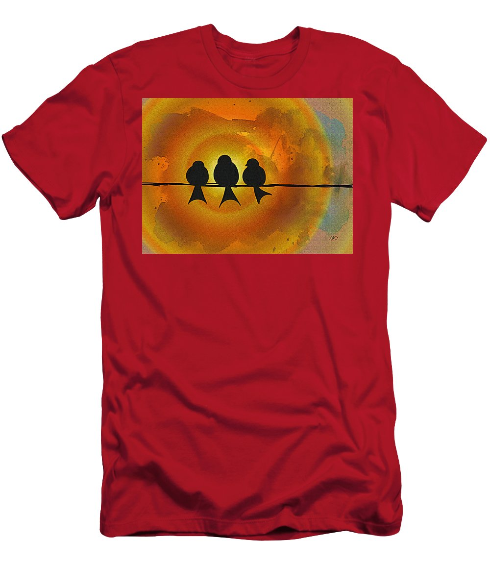 Birds Men's T-Shirt (Athletic Fit) featuring the digital art Birds On A Wire by Kiki Art