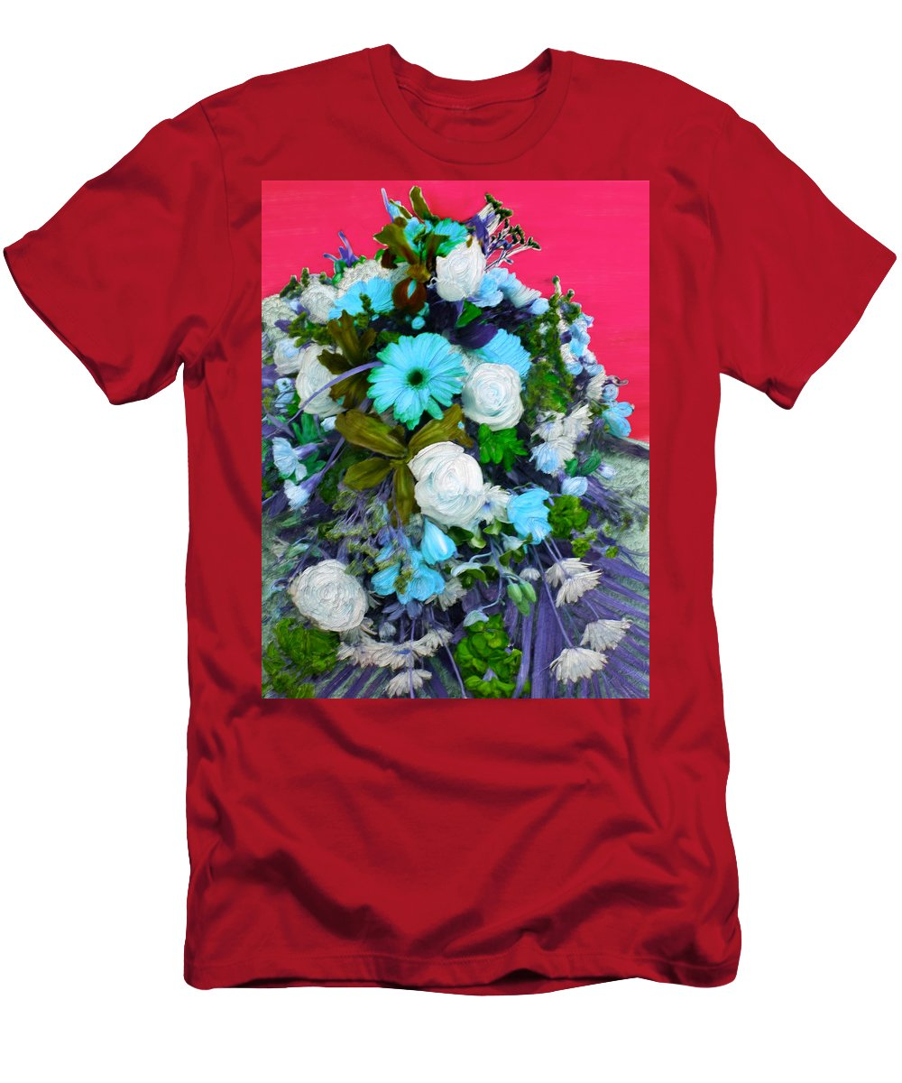 Flowers Men's T-Shirt (Athletic Fit) featuring the painting Blue Bouquet by Bruce Nutting