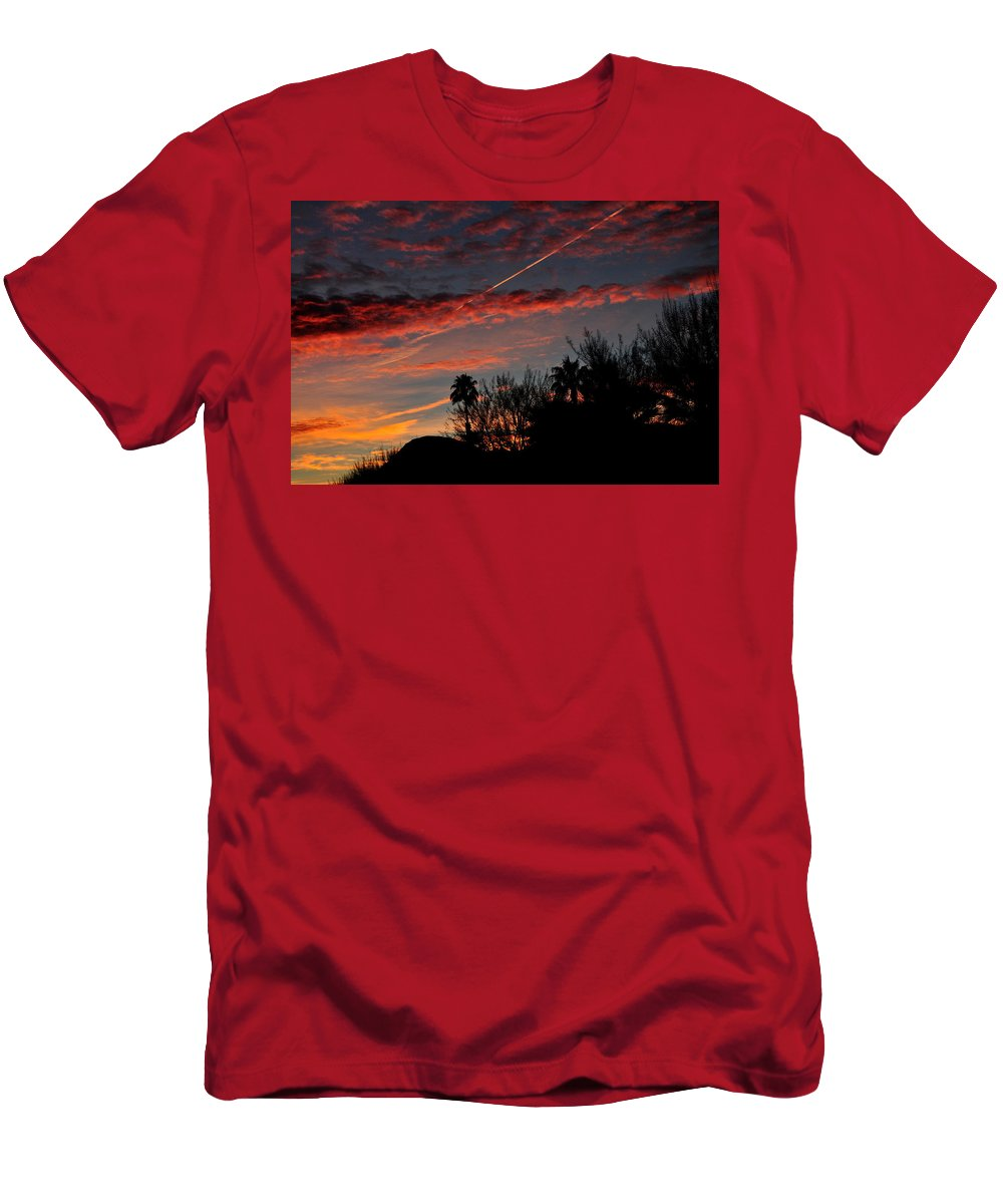 Bloody Sky Men's T-Shirt (Athletic Fit) featuring the photograph Blue Red And Gold Sunset With Streak by Jay Milo