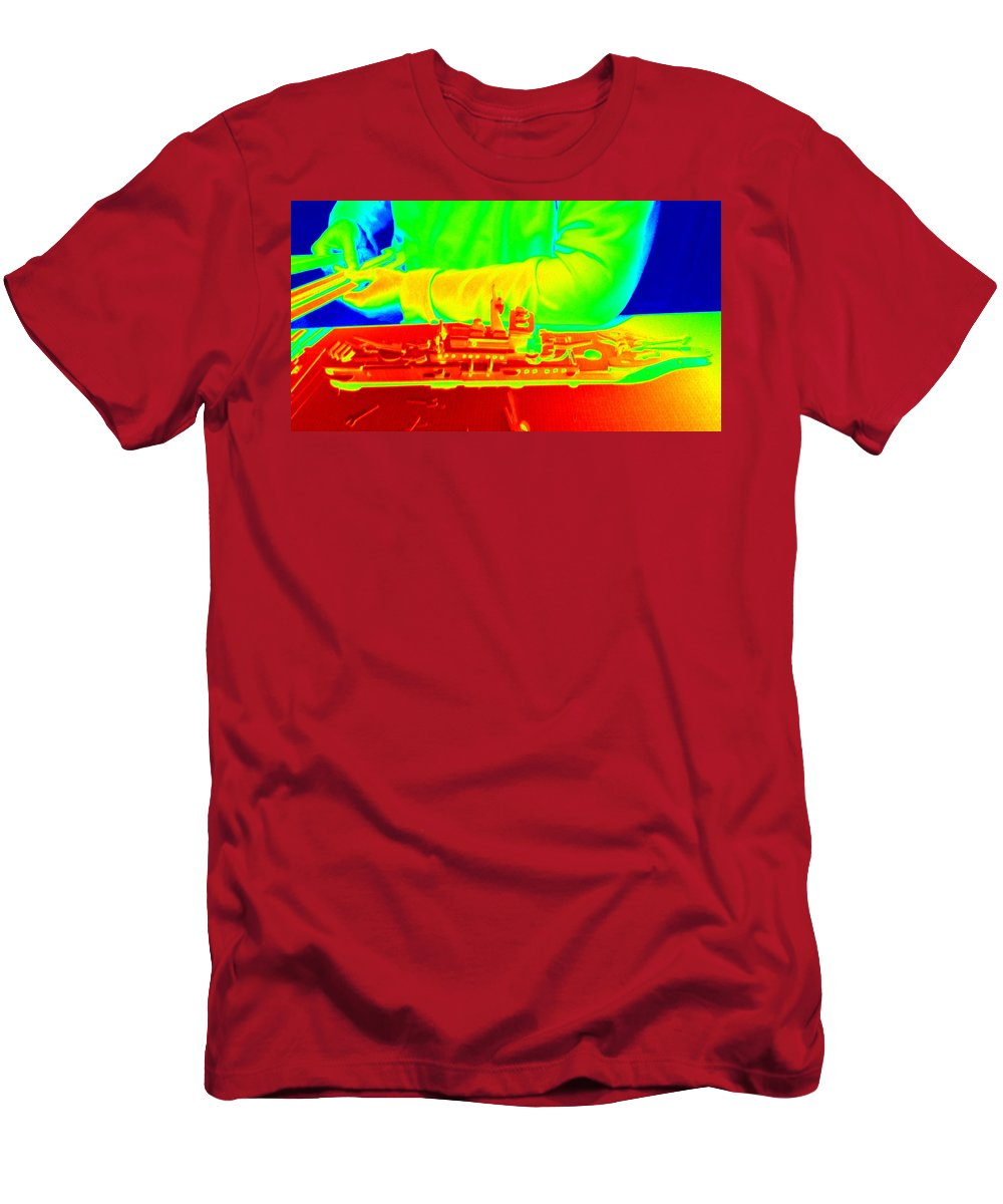 Man Men's T-Shirt (Athletic Fit) featuring the photograph Boat Builder by Pamela Hyde Wilson