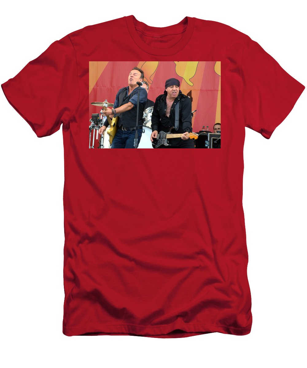 Bruce Springsteen Men's T-Shirt (Athletic Fit) featuring the photograph Bruce Springsteen 6 by William Morgan