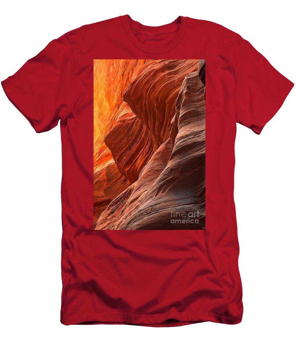 Buckskin Gulch Men's T-Shirt (Athletic Fit) featuring the photograph Buckskin Gulch Slot Canyon Fire by Adam Jewell