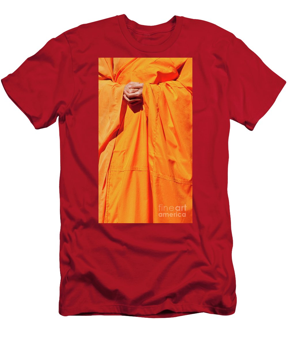 Buddhist Monk Men's T-Shirt (Athletic Fit) featuring the photograph Buddhist Monk 02 by Rick Piper Photography