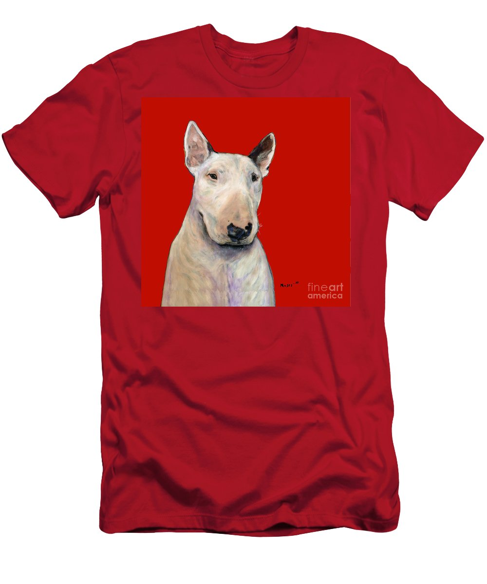 Dogs Men's T-Shirt (Athletic Fit) featuring the painting Bull Terrier On Red by Dale Moses