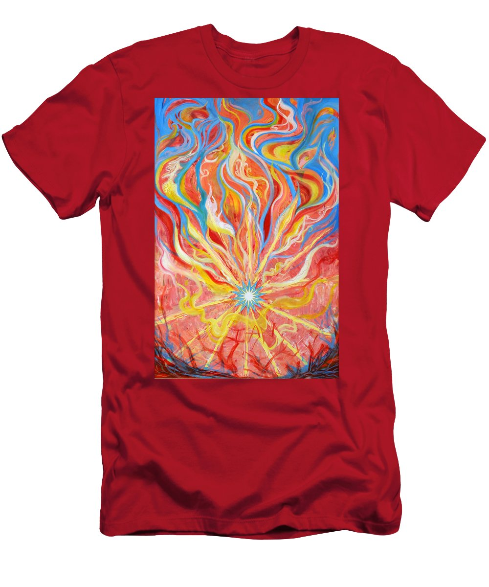 Biblical Men's T-Shirt (Athletic Fit) featuring the painting Burning Bush by Anne Cameron Cutri