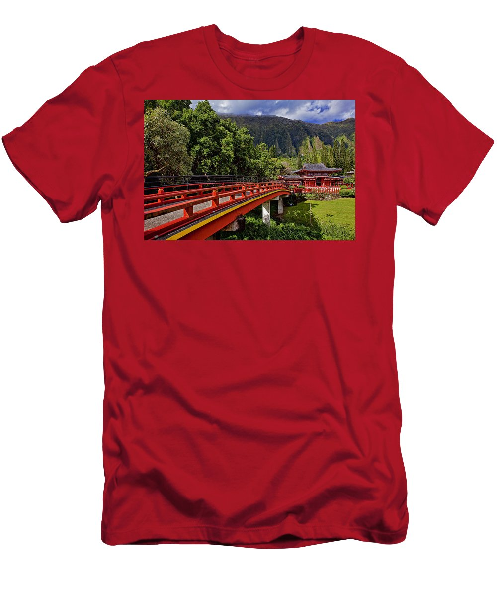 Architecture Men's T-Shirt (Athletic Fit) featuring the photograph Byodo-in-temple by Marcia Colelli