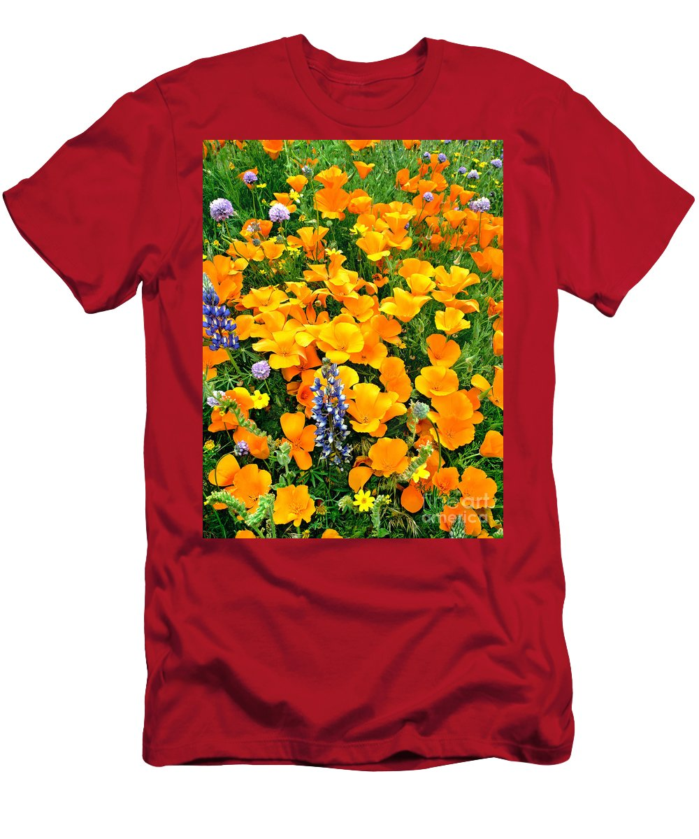 North America Men's T-Shirt (Athletic Fit) featuring the photograph California Poppies And Betham Lupines Southern California by Dave Welling