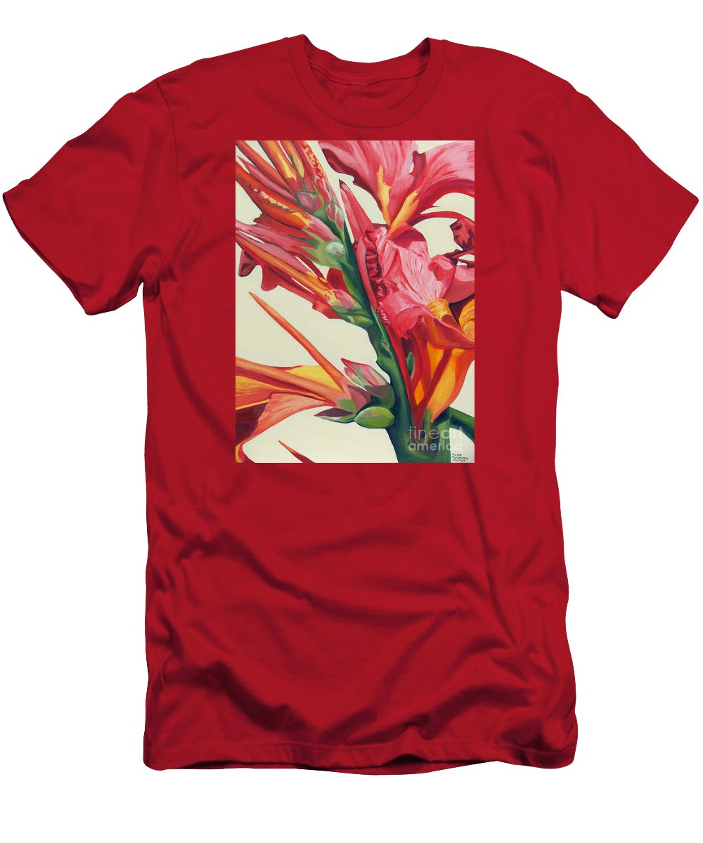 Canna Lily Men's T-Shirt (Athletic Fit) featuring the painting Canna Lily by Annette M Stevenson