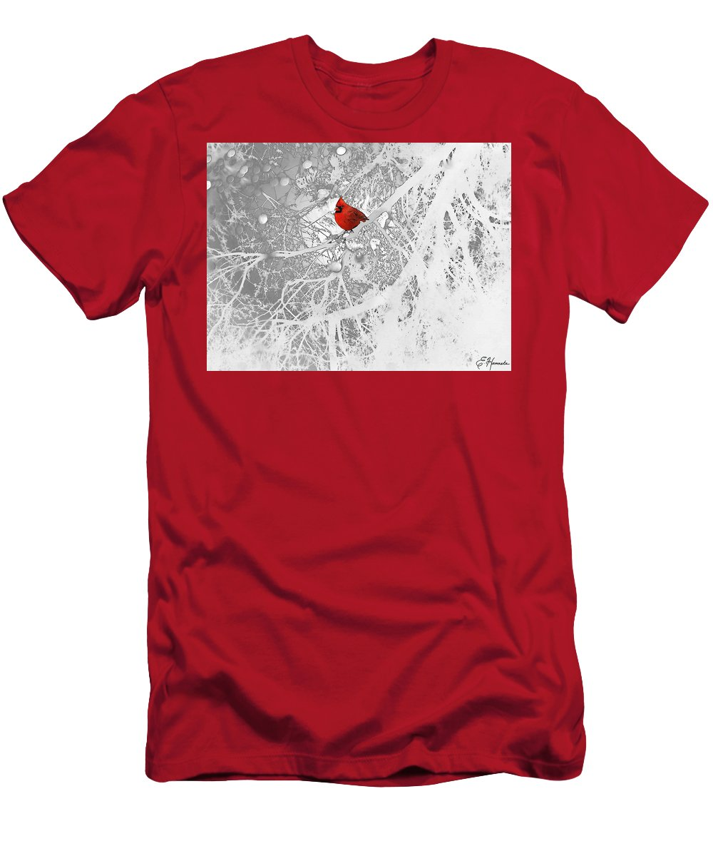 Cardinal In Winter Men's T-Shirt (Athletic Fit) featuring the drawing Cardinal In Winter by Ellen Henneke