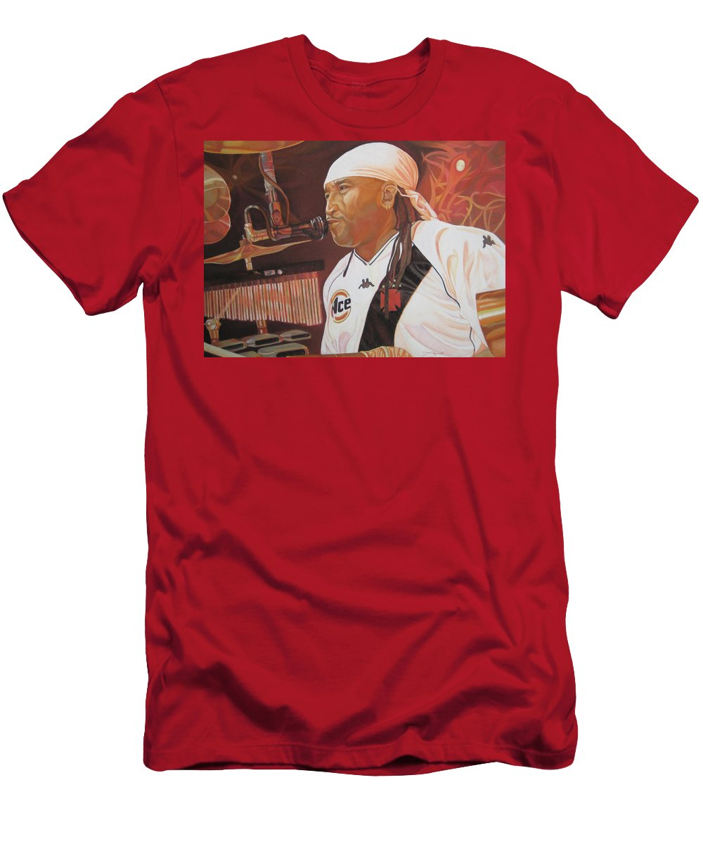 Carter Beauford Men's T-Shirt (Athletic Fit) featuring the drawing Carter Beauford At Red Rocks by Joshua Morton